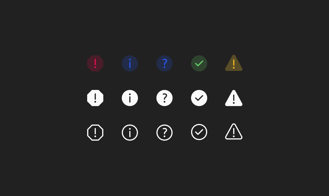 Preview of the alert icons