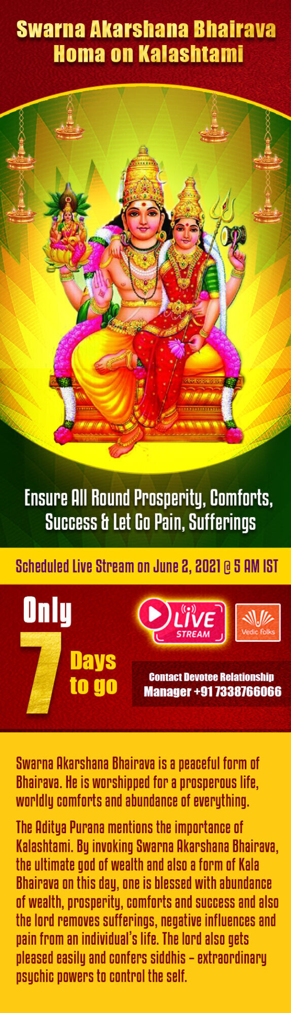 Exclusive Live Stream Swarna Akarshana Bhairava Homam on Kalashtami