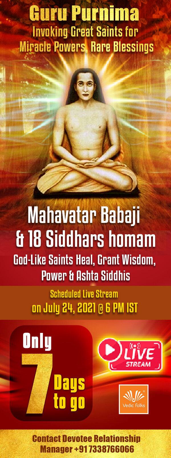 Exclusive Live Stream Mahavatar Babaji & 18 Siddhar Homam