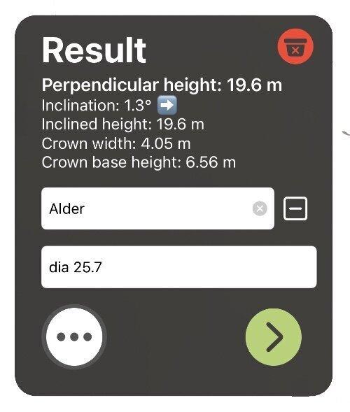 Skärmbild på resultat efter mätning